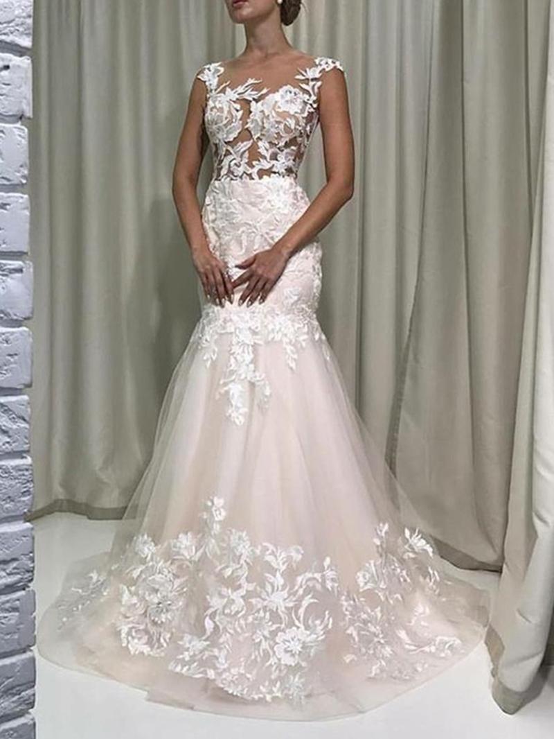Ericdress Sheer Neck Appliques Cap Sleeves Wedding Dress