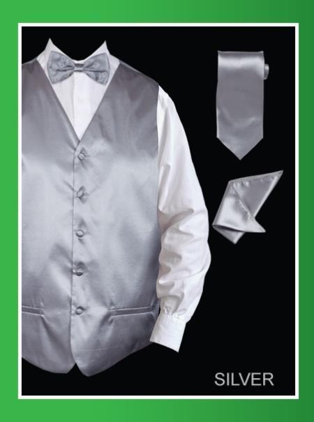 Mens 4 Piece Vest Set  Satin Silver