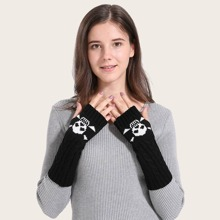 Strick Handschuhe mit Schaedel Muster und offener Fingerpartie