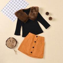 Outfits dos piezas para niña pequeña Contraste Piel Sintetica Monocolor Casual