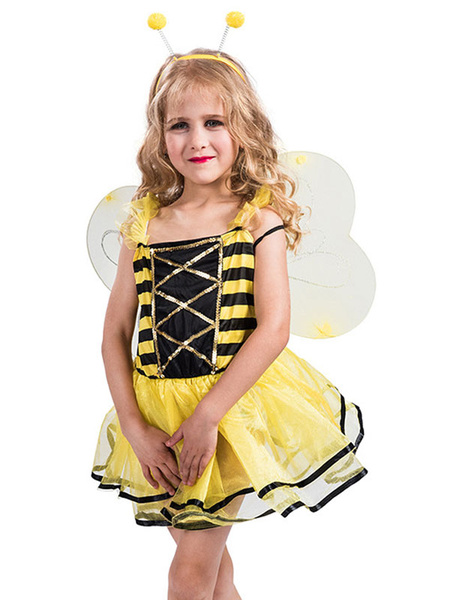 Milanoo Kids Halloween Costumes Bee Ruffle Dress Headwear Outfit For Child