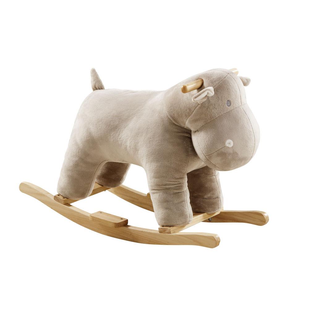 Schaukel-Nilpferd, beige, Pappelholzfuesse
