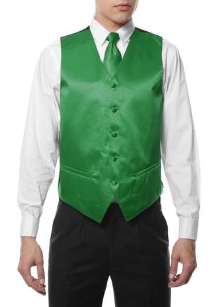 Mens 4PC Big and Tall Vest & Tie & Bow Tie and Hankie Green