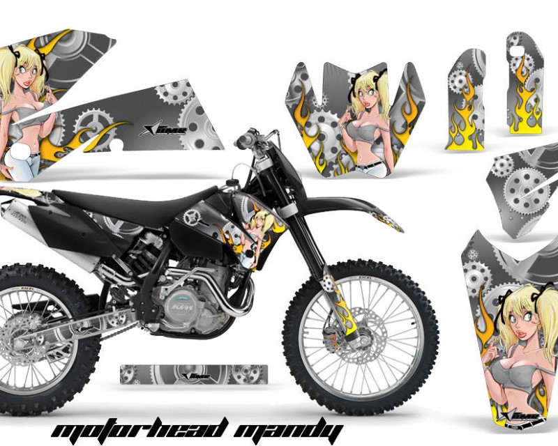 AMR Racing Dirt Bike Decal Graphic Kit Wrap For KTM EXC/SX/MXC?/SMR/XCF-W 2005-2007áMOTO MANDY SILVER