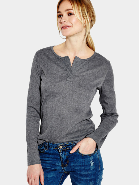 Yoins Dark Grey Plunge Casual Design Blouse with Long Sleeves