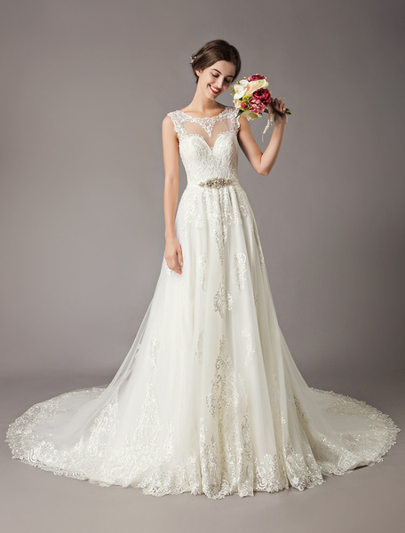 Milanoo Lace Wedding Dresses Cathedral Train Ivory Backless Beaded Sash A Line Bridal Gowns