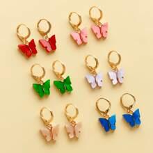 6 Paare Maedchen Ohrringe mit Schmetterling Dekor