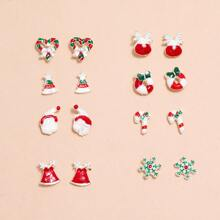 8pairs Christmas Hat Decor Stud Earrings