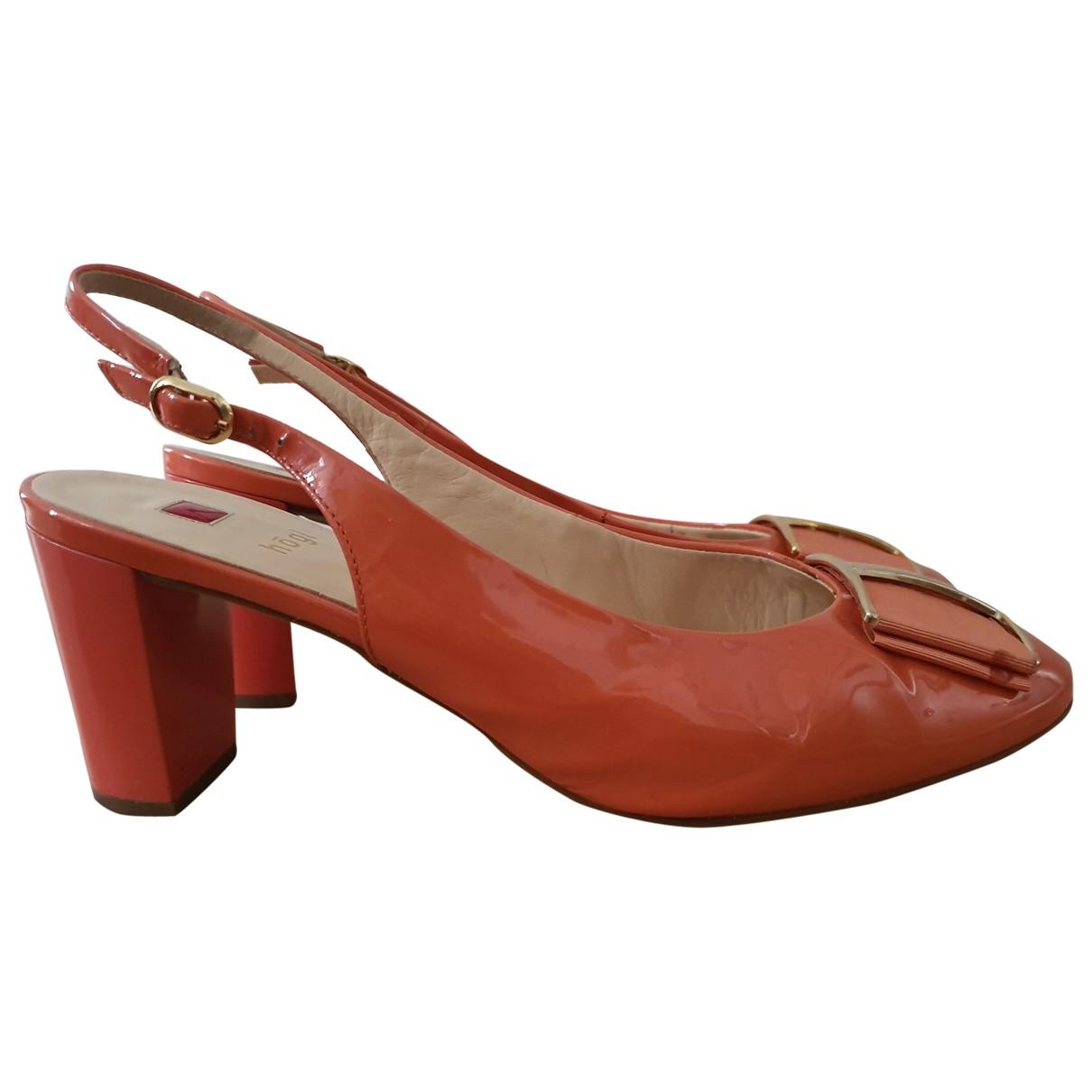 - Sandales   pour femme en cuir - orange