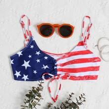Bikini Top mit amerikanischer Flagge Muster und Kordelzug