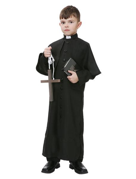 Milanoo Disfraz de niños Halloween Disfraz Halloween de Sacerdote de Niños de Chicos Negro Vacacional Disfraz Vestidos y Marco 2020 en 2 Piezas Disfra