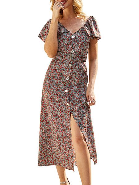 Milanoo Summer Dresses V Neck Ruffle Button Up Sundress