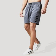 Men Letter Graphic Drawstring Waist Shorts