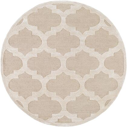 AWRS2119-6RD 6' Round Rug  in Khaki and