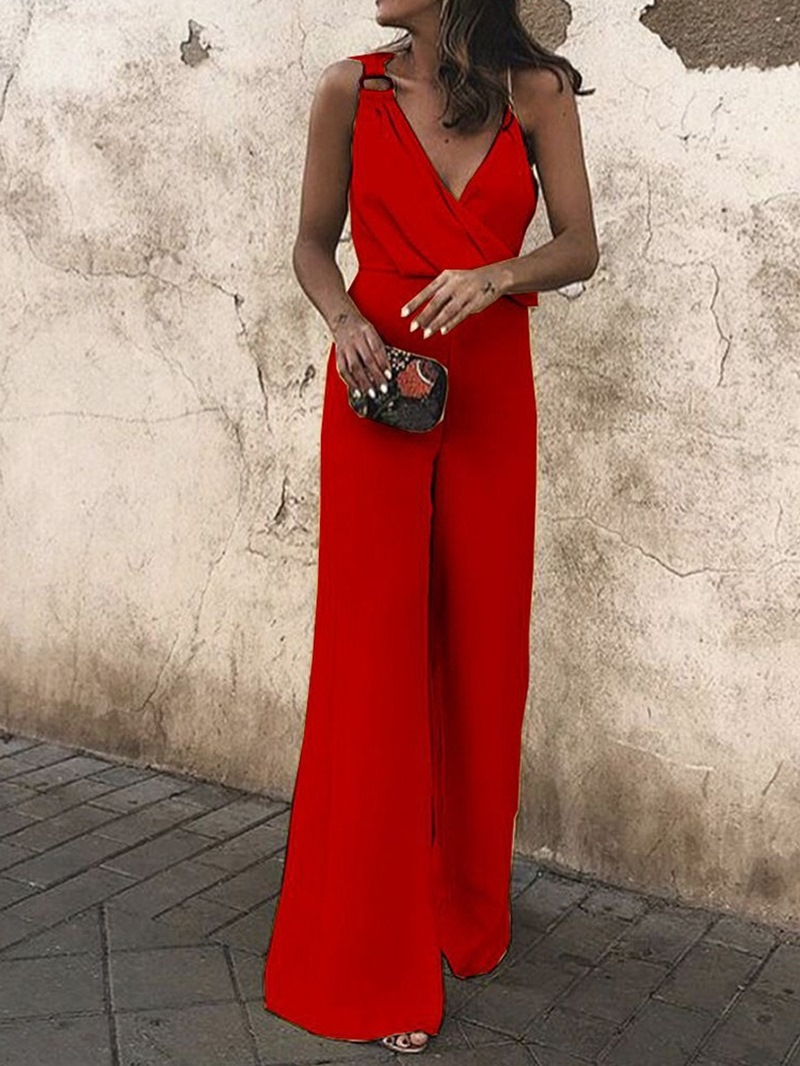 Ericdress Simple Plain Full Length High Waist Wide Legs Women's Jumpsuit