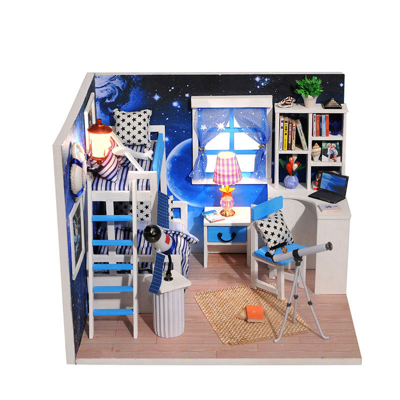 Cosmic Space DIY Dollhouse With Furniture Light Music Cover