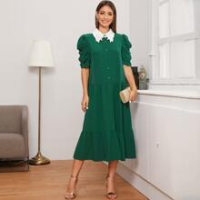 Guipure Lace Collar Buttoned Front Puff Sleeve Dress