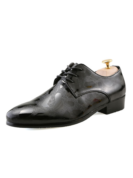 Milanoo Men Shoes Gold Dress Shoes Glitter Round Toe Lace Up Casual Business Shoes