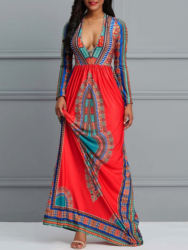 Ericdress African Style Print Floor-Length Color Block Expansion Dress