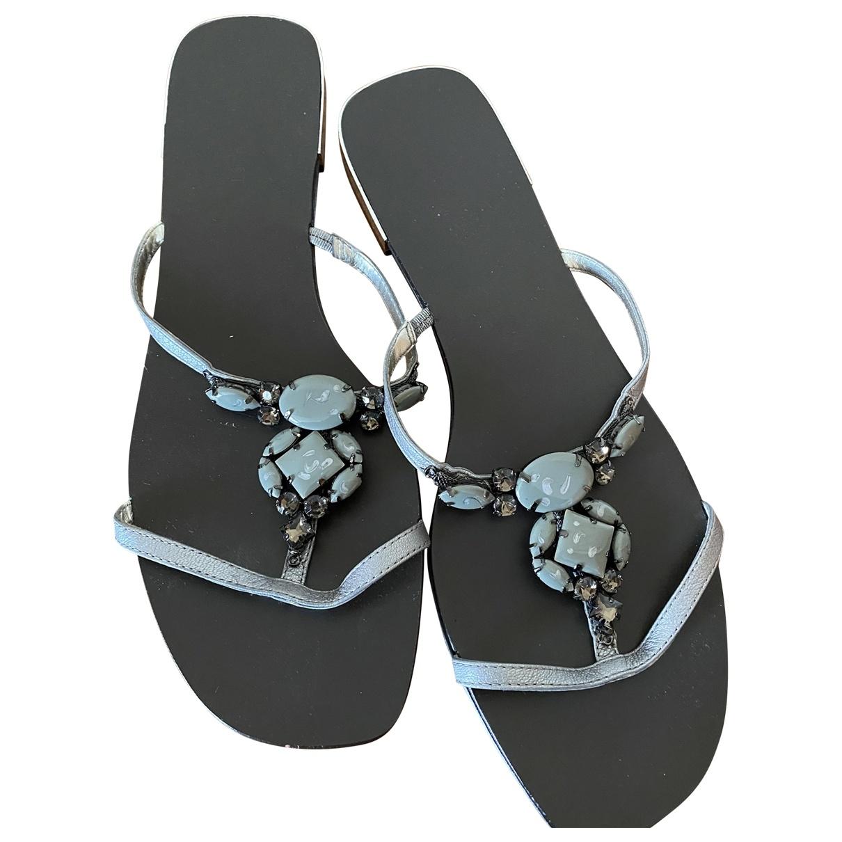 Nine West - Sandales   pour femme en cuir - gris