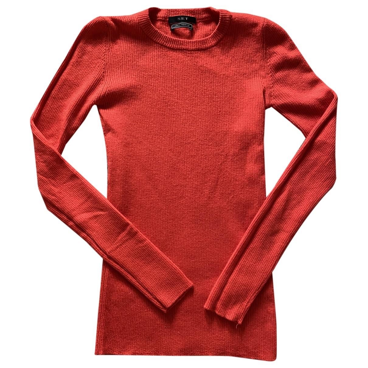 Set - Pull   pour femme en laine - rouge