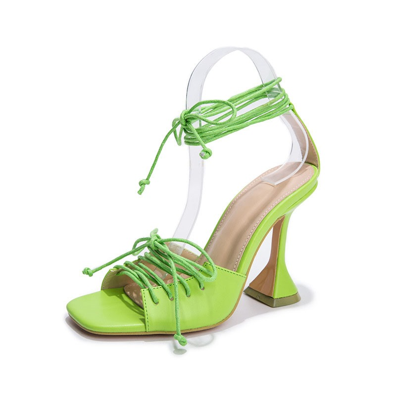 Ericdress Stiletto Heel Square Toe Lace-Up Plain Sandals