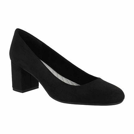 Easy Street Womens Proper Pumps Block Heel, 7 Medium, Black