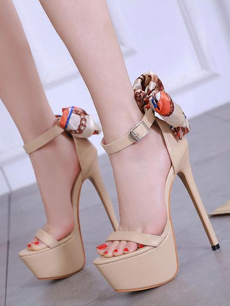 Milanoo Sandalias de tacon alto Zapatos sexy para mujeres Plataforma de albaricoque Arco Correa del tobillo Sandalia zapatos