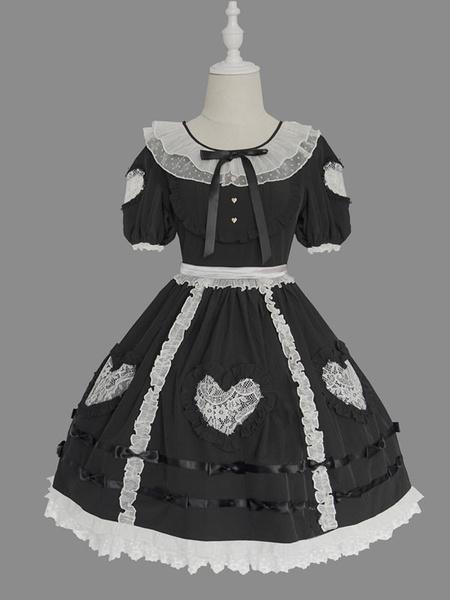 Milanoo Sweet Lolita OP Dress Ruffles Short Sleeves Lolita One Piece Dresses