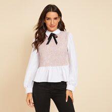 Camisa peplum tweed de cuello con cordon