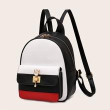 Color Block Pocket Front Backpack