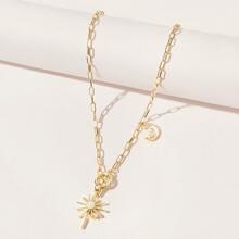 Rhinestone Star Toggle Clasp Chain Necklace