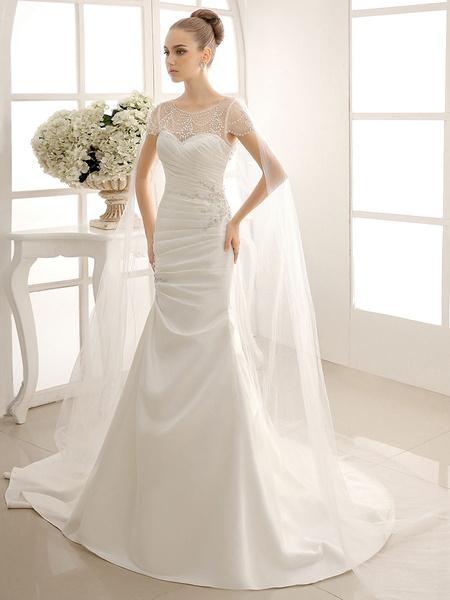 Milanoo Exquisite Beaded Sheer Neckline Short Sleeve Wedding Dress with Translucent Detachable Cape