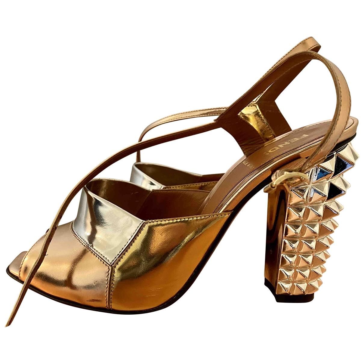 Fendi \N Metallic Leather Sandals for Women 39 EU