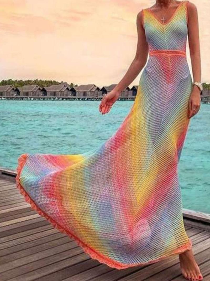 Ericdress Sleeveless V-Neck Hollow Gradient Mid Waist Dress