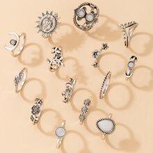 14pcs Gemstone Floral & Moon Ring