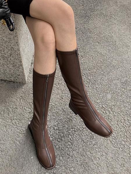 Milanoo Women\'s Knee-High Boots Elastic Fabric Black Square Toe Flat Flat Women\'s Fall Winter Boots
