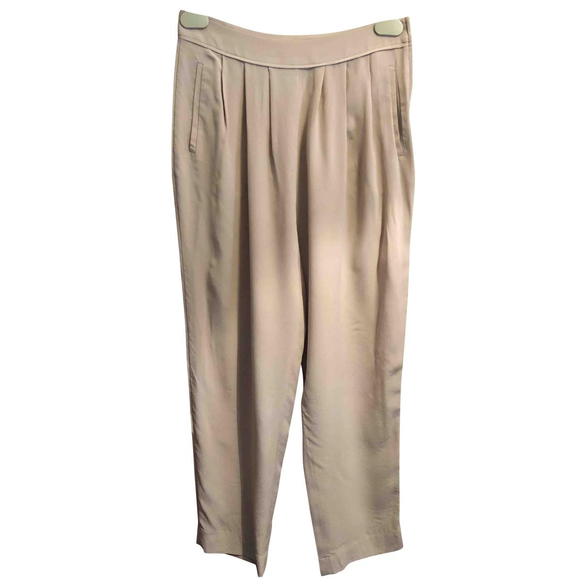 Miu Miu \N Pink Silk Trousers for Women 38 IT