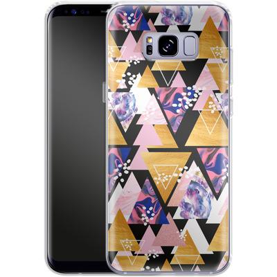 Samsung Galaxy S8 Plus Silikon Handyhuelle - Blush Geo Black von Mukta Lata Barua