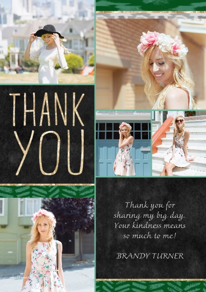 Thank You Cards Flat Glossy Photo Paper Cards with Envelopes, 5x7, Card & Stationery -Sparkle Ikat Thank You