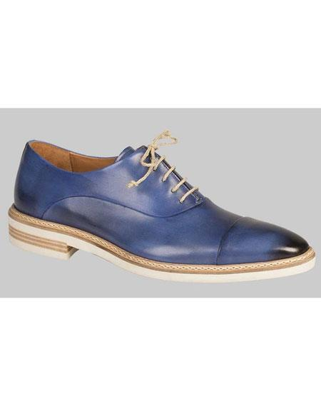 Men's Handmade Blue Leather Cap Toe Dress Shoe Authentic Mezlan Brand