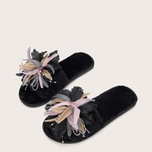 Floral Graphic Fluffy Slippers