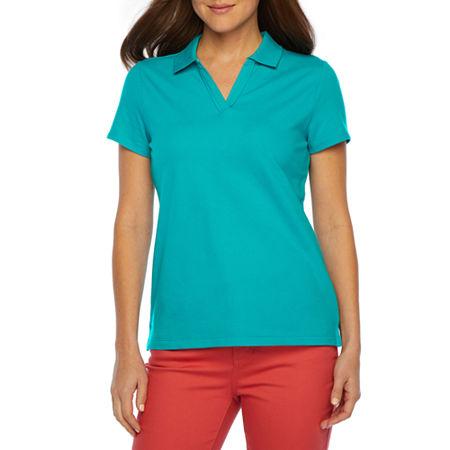 St. John's Bay Petite Womens Short Sleeve Knit Polo Shirt, Petite Large , Blue