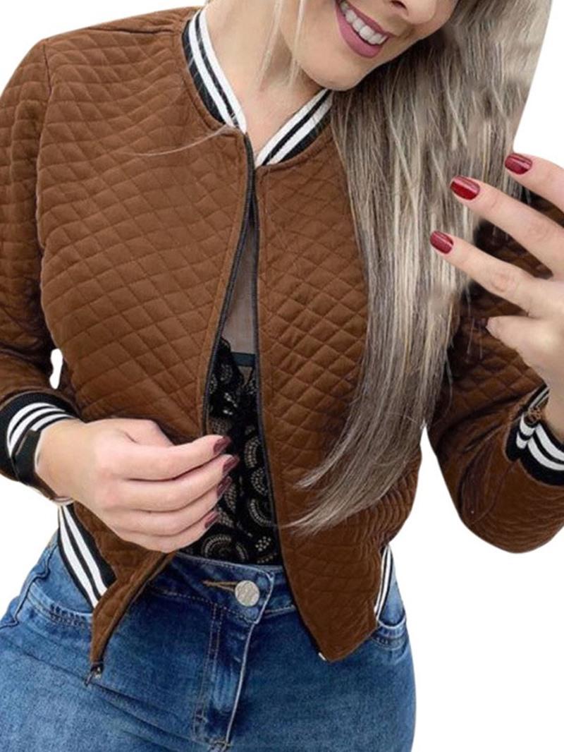 Ericdress Nine Points Sleeve Zipper Slim Regular Short Jacket