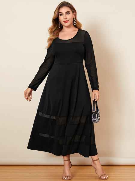Yoins Plus Size Halloween Round Neck Patchwork Long Sleeves Maxi Dress