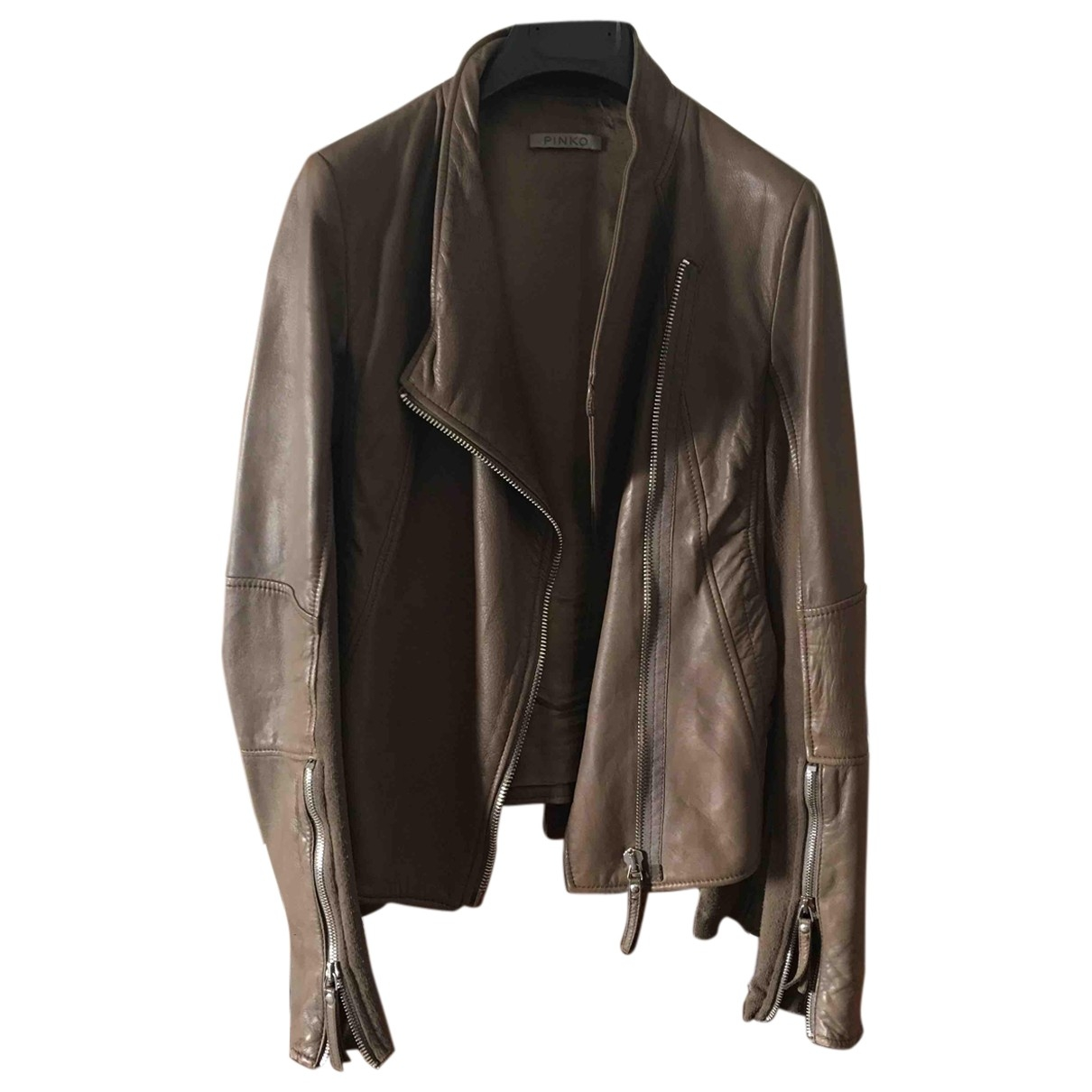 Pinko \N Khaki Leather Leather jacket for Women 40 IT