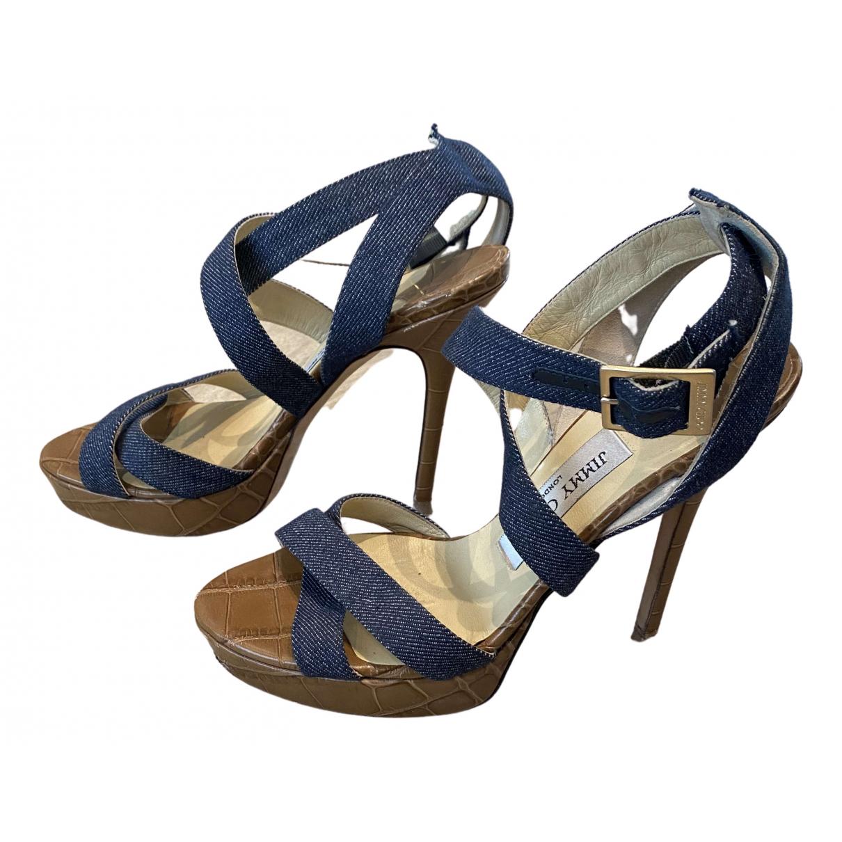 Jimmy Choo - Sandales   pour femme en toile - bleu