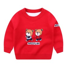 Toddler Boys Cartoon And Letter Graphic Sweater