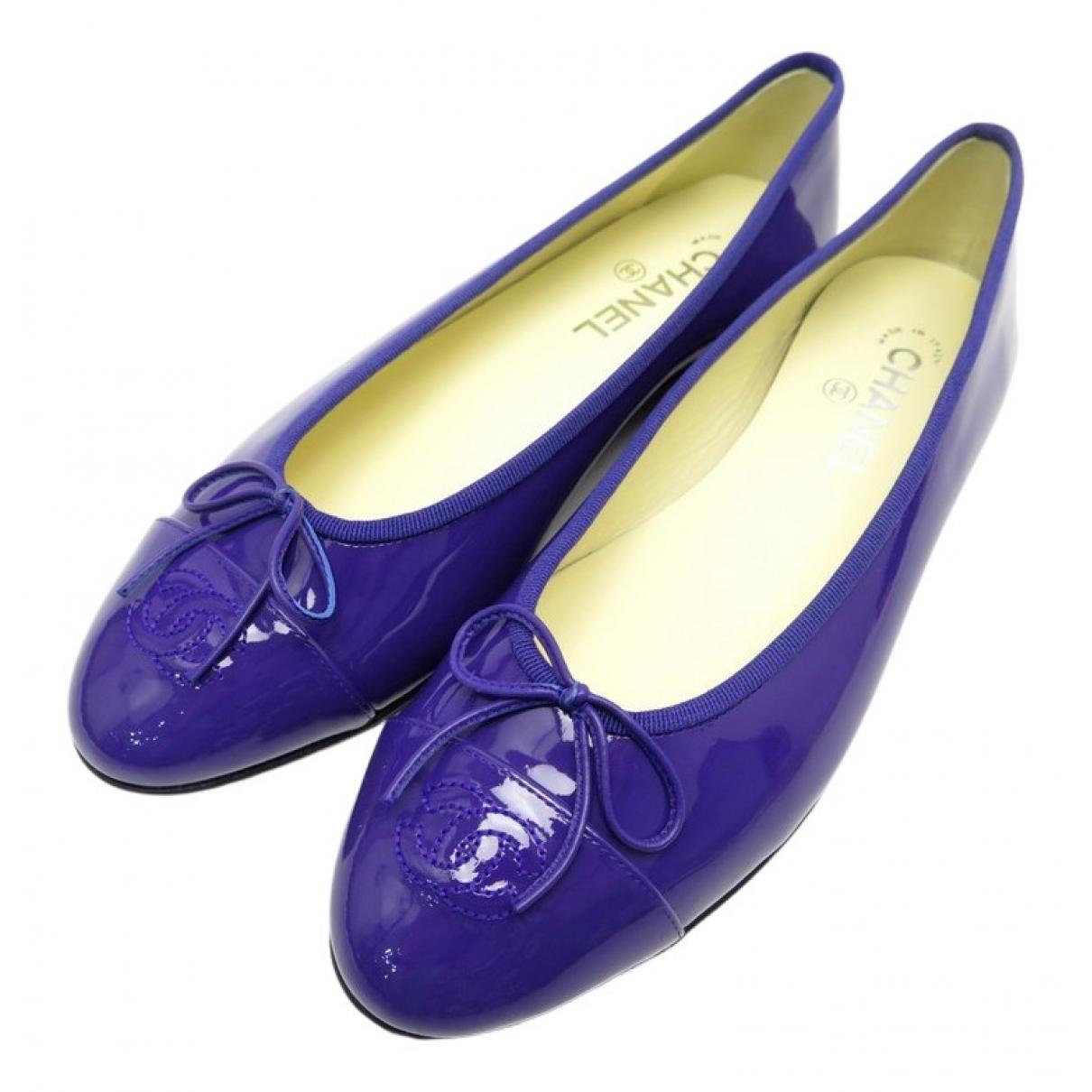 Chanel - Ballerines   pour femme en cuir verni - violet
