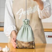 1 pieza bolsa de almacenamiento de vegetal con cordon con malla en contraste